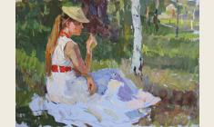 Piotr Alberti.  A Girl on the Grass. Oil on cardboard, 33х48. 1960