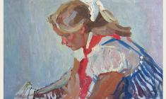 Piotr Alberti. Girl in a Striped Sarafan. Oil on cardboard,, 30,2х49,3. 1961
