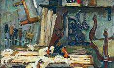 Piotr Alberti. Carpenter's Workshop. Oil on canvas, 100,5х120. 1976