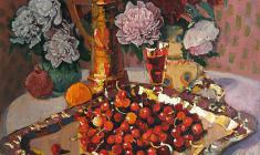 Piotr Alberti. Peonies and Cherries on a Silver Tray. Oil on canvas, 90,5х70,5. 1980