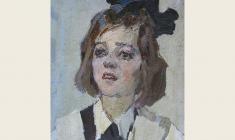 Piotr Alberti. Schoolgirl. Oil on cardboard,  48,5х38,5. 1962
