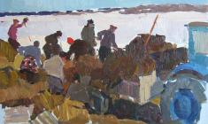 Piotr Alberti. Silage Loading. Oil on cardboard, 32,3х47. 1960