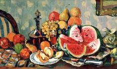 Piotr Alberti. Still-life with Watermelon. Oil on canvas, 50х100. 1980