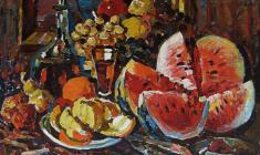 Piotr Alberti. Still-life with Watermelon.  Oil on canvas,76х80. 1992