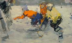 Piotr Alberti. Young Hockey Players. Oil on cardboard, 35х50. 1968