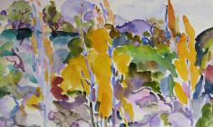 Eugenia Antipova. Yellow Trees. Watecolor on paper,  50,5х64. 1968