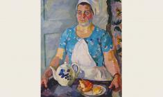 Eugenia Antipova. Waitress. Oil on canvas,, 100х70. 1964