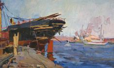 Eugenia Antipova. Ships at the dock. Oil on cardboard, 28,3х49,2. 1956