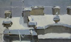 Taisia Afonina. Roof. Oil on cardboard, 11х17. 1955