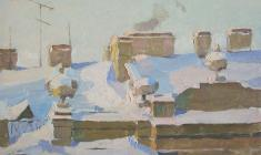 Taisia Afonina. Roof. Oil on cardboard, 25,3х34,7.  1957