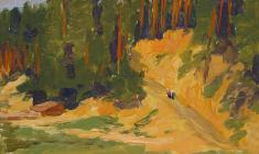Taisia Afonina. Forest Shore. Forest trail. Oil on cardboard, 13,5х17,5. 1954