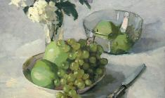 Taisia Afonina. Grapes and Apples. Oil on canvas, 38,5х45. 1955