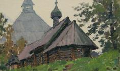 Taisia Afonina. Saint-Dmitry Solunsky in Old Ladoga`s Fortress. Oil on cardboard,16,2х22,4. 1976