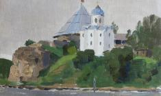 Taisia Afonina. Saint-George Cathedral in Old Ladoga. Oil on cardboard, 15,8х21,5. 1976