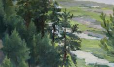 Taisia Afonina. The Rezan Land. Oil on cardboard, 33,5х24,7. 1954