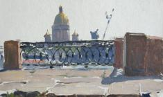 Taisia Afonina. Universcity Embarkment in Leningrad. Oil on cardboard, 15,8х21,8. 1960