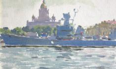 Taisia Afonina. Ship on the Neva. Oil on cardboard, 15,5х22. 1960