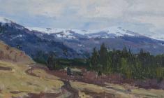 Vsevolod Bazhenov. Mountains. Oil on cardboard, 14х35. 1958