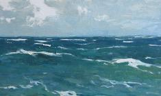 Vsevolod Bazhenov. Sea. Oil on cardboard, 16,5х34. 1962