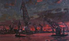 Vsevolod Bazhenov. Admiralty Shipyard in Leningrad.Oil on cardboard, 24,7х32,4. 1965