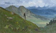 Vsevolod Bazhenov. The Altai Mountains. Oil on cardboard, 20,2х34,8. 1954