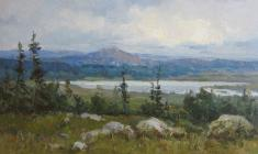 Vsevolod Bazhenov. In the Altai. Oil on cardboard,  20,2х34,8. 1953