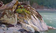Vsevolod Bazhenov. Rocks of Lake Baikal. Oil on cardboard,22,2х31,2. 1958