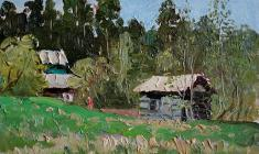 Vsevolod Bazhenov. Country Bathhouse. Oil on cardboard, 16х21,5. 1976
