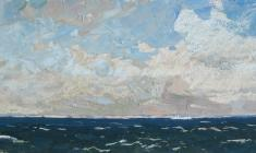 Vsevolod Bazhenov. Denmark on the horizon. Oil on cardboard, 17,5х41. 1962