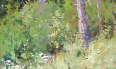 Vsevolod Bazhenov. Forest Glade. Tempera on canvas, 33х25. 1976