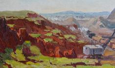 Vsevolod Bazhenov. Altai Quarry. Oil on cardboard,  16,2х34. 1950