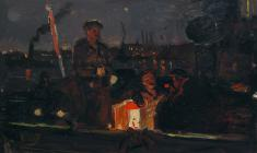 Vsevolod Bazhenov. Night Neva. Oil on cardboard, 29х48,5. 1959