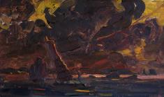 Vsevolod Bazhenov. Night over Singapore. Oil on cardboard, 25х44. 1963