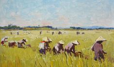 Vsevolod Bazhenov. On the Rice Field in Vietnam. Oil on cardboard, 13,5х19. 1962