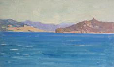 Vsevolod Bazhenov. Cape Lighthouse. Oil on cardboard,10,8х13,5. 1962