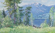 Vsevolod Bazhenov. Spring in the Altai Mountains.Oil on canvas,27х80. 1979