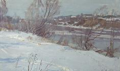 Vsevolod Bazhenov. Spring on the Volkhov River. Oil on cardboard, 29х45. 1981