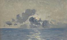 Vsevolod Bazhenov. Sunrise in the Indian Ocean. Oil on cardboard, 13х18. 1962