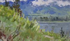 Vsevolod Bazhenov. The Blue Altai. Oil on cardboard, 19,5х24,5. 1957