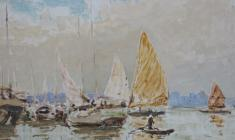 Vsevolod Bazhenov. Vietnamese Boats. Tempera on canvas, 19,5х26. 1962