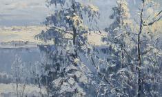 Vsevolod Bazhenov. Winter Morning. Oil on cardboard,44,5х50. 1956
