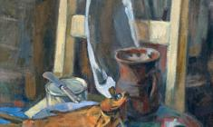 Eugenia Baykova. Still-life with a Fish. Oil on canvas,70х51,5. 1970
