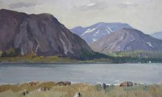 Irina Baldina. Altay Mountains. Oil on cardboard, 24,3х34,4. 1959