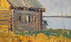 Irina Baldina. Our House. Oil on cardboard,,16х23. 1962