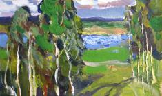 Irina Baldina. Windy Day. Oil on cardboard, 16,5х24,5. 1968