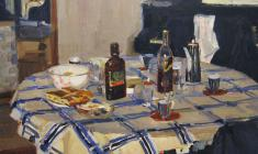 Yuri Belov. The Guests have Left. Oil on canvas, 75х100. 1970