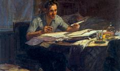 Yuri Belov. Worker-innovator. Oil on canvas, 51х45,5. 1954