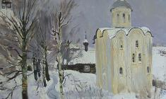 Andrei Blyok. St`George Church in Old Ladoga. Oil on canvas, 60,5х80. 1976