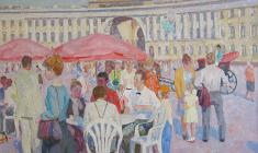 Veniamin Borisov. At the Palace Square in St`Petersburg. Oil on canvas, 60х80. 1992