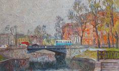 Veniamin Borisov. At the Sadvy Bridge  in Leningrad. Oil on canvas, 50х70. 1991